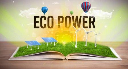 Libro abierto, concepto de energía renovable