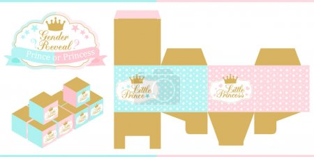 Royal Baby Shower. Gender reveal party. Prince or princess. Blue, pink and gold favor box template. Vector design elements with crown. Die paper. Print and cut. Modern candy table ( buffet, bar, gift)