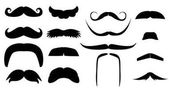 Vector vintage set of variants fake mustache Photo props booth for little man party ( dad day birthday baby boy shower) Black silhouette isolated on white background Illustration for laser cutting