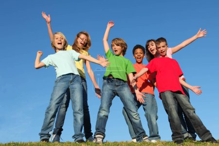 diversity kids group hands raised