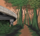 Elevated road and forest side