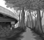 Silhouette forest side scene
