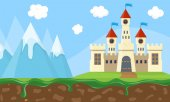 Exciting fairy landscape with beauty castle mountains and sky  Vector Illustration