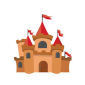 Big kings castle isolated on the white background Vector Illustration