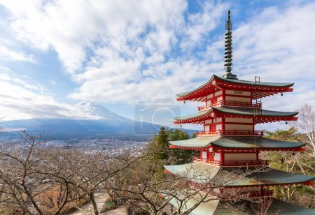 View Fuji from behind Chureito Pagoda.