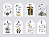 Christmas tags set hand drawn style
