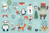 Christmas set hand drawn style - calligraphy animals and other elements