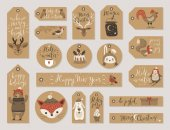 Christmas kraft paper cards and gift tags set hand drawn style Vector illustration