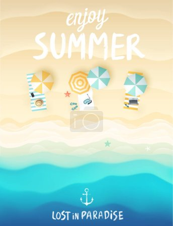 Illustration for Tropical beach poster. Vector illustration. - Royalty Free Image