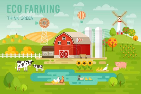 Eco Farming concept with house and farm animals.