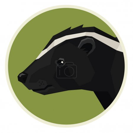 Wild animals collection Skunk Geometric style icon round