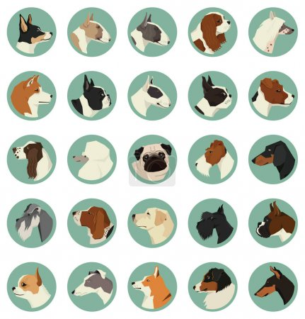 Dog breeds Avatars Vector set of 25 round frames