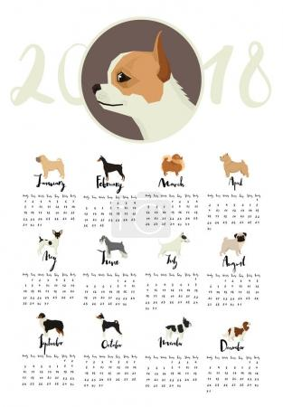 Dog collection Calendar with Chihuahua and other dogs Months of