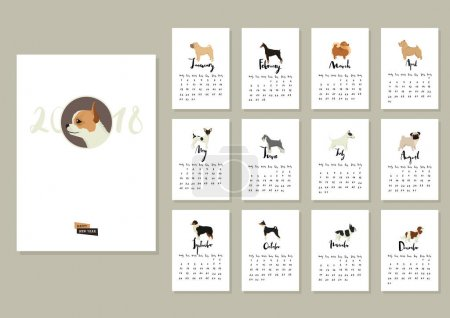 Dog collection Calendar 2018 Cover with Chihuahua