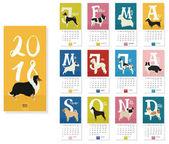 Calendar 2018 Dog breeds 12 months Colorful background