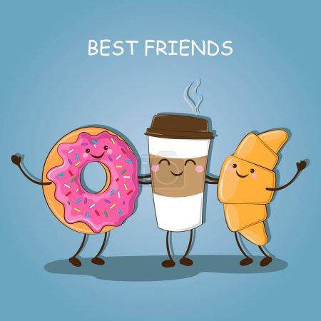Illustration pour Petit déjeuner. Petit déjeuner matinal. Meilleurs amis. Jolie photo d'un café, un beignet et un croissant. Illustration vectorielle . - image libre de droit