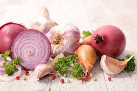 fresh onion and garlic