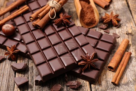 Photo for Close up on chocolate bar and spice - Royalty Free Image