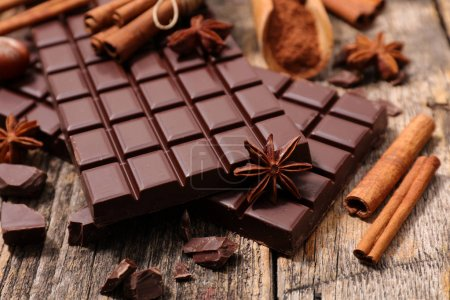 Photo for Chocolate bar and spices close up - Royalty Free Image