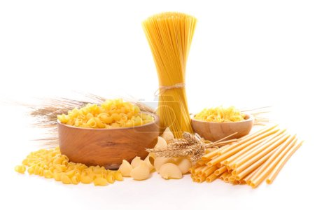 Photo for Assortment raw pasta isolated on white - Royalty Free Image