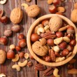 Assorted nuts in bowl on wooden background