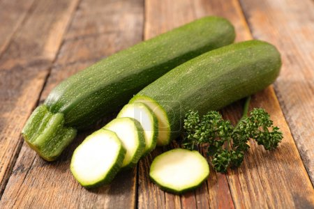 sliced raw courgettes