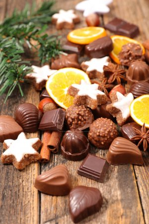 Photo for Assortment chocolate candies. dessert for chrismtas - Royalty Free Image