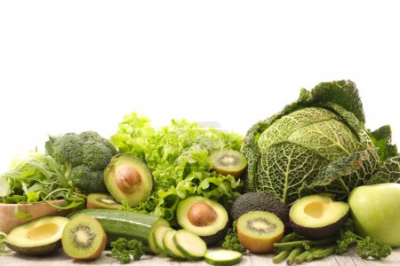 assorted green vegetables and fruits