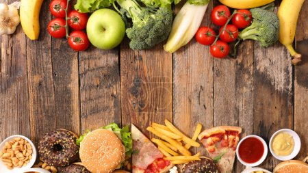 Photo for Health food or junk food - Food health options concept - Royalty Free Image