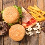 Assorted junk food unhealthy food...