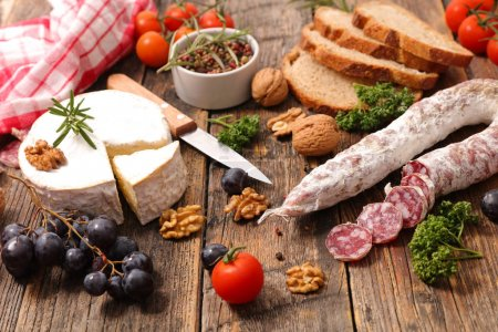 assorted appetizers on wooden table