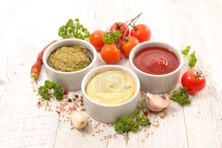 Photo for Assorted various of sauce dip on wooden background - Royalty Free Image