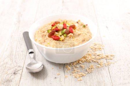 porridge and berries in plate