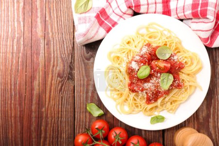 Photo for Spaghetti with tomato sauce and basil - Royalty Free Image