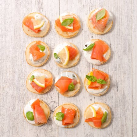 canapes with cheese and salmon