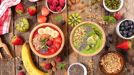 Photo for Healthy breakfast composition on wooden table - Royalty Free Image