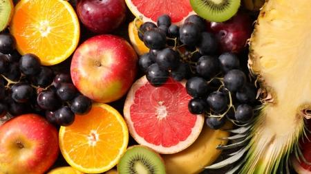 assorted fresh fruit top view