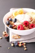healthy vegetarian breakfast on grey table