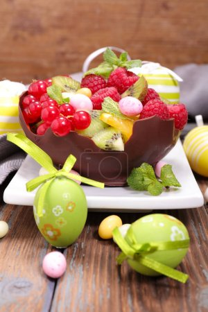 easter fruit salad on wooden  table