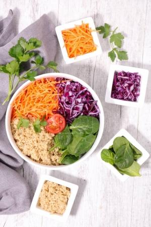 vegetarian bowl salad on  wooden table