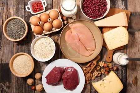Close-up view of selection of protein food  on wooden table
