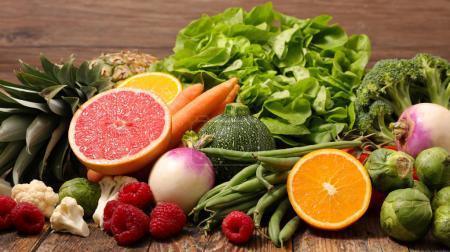Foto de Colección de frutas con verduras, Close-up - Imagen libre de derechos