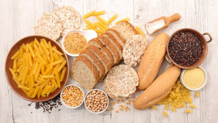 Photo for Selection of food gluten free on wooden table - Royalty Free Image