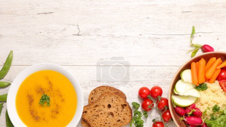 selection of gluten free meal on wooden table