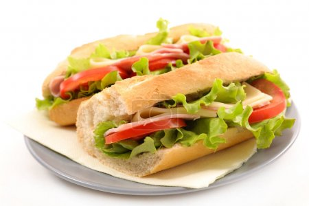 Photo for Sandwiches with ham and vegetable on plate isolated on white background - Royalty Free Image