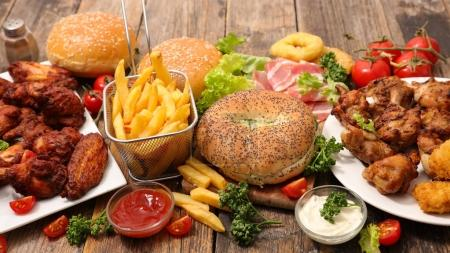 selection of traditional american food on wooden table