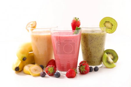 close-up view of assorted juice or smoothies in glasses