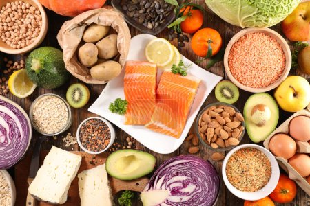 healthy food- fruit, vegetable, cereal, salmon fish composition- healthy lifestyle