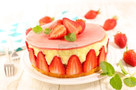 Photo for Strawberry cake with cream on wood background - Royalty Free Image