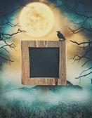 Wooden sign in dark landscape with spooky moon. Halloween design